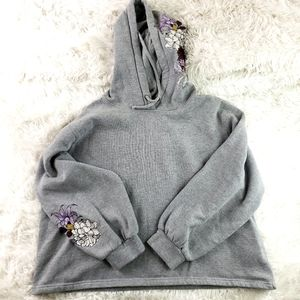 Ariat grey pullover floral hoodie size xl